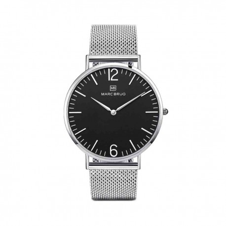 Marc Brüg Ladies' Elysee Watch With Silver Case And Black Dial
