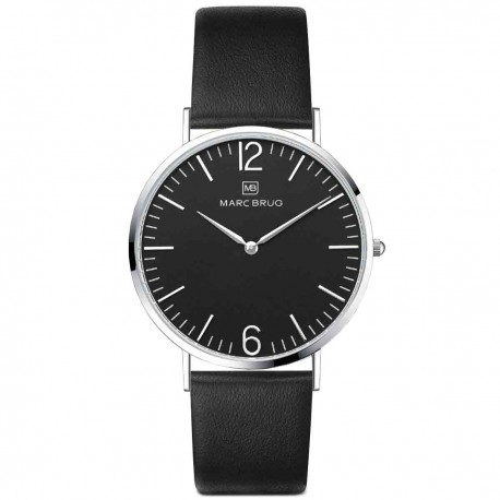 Marc Brüg Men's Chelsea Watch With Silver Case And Black Dial