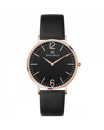 Marc Brüg Men's Chelsea Watch With Rosegold Case And Black Dial