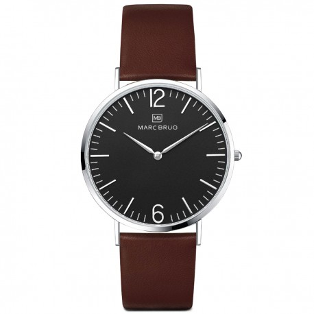 Marc Brüg Men's Mayfair Watch With Silver Case And Black Dial