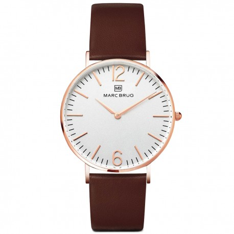 Marc Brüg Men's Mayfair Watch With Rosegold Case And Argent Dial