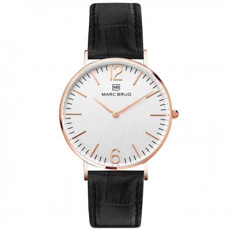 Marc Brüg Men's Broadway Watch With Rosegold Case And Argent Dial