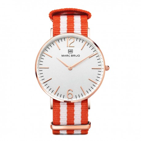 Marc Brüg Men's Goa Watch With Rosegold Case And Argent Dial