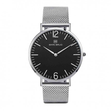Marc Brüg Men's Elysee Watch With Silver Case And Black Dial