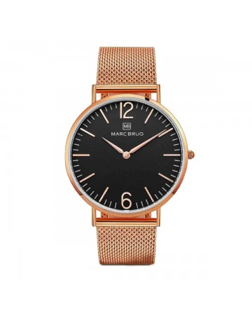 Marc Brüg Men's Trocadero Watch With Rosegold Case And Black Dial