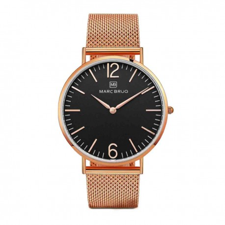 Marc Brüg Men's Trocadero Watch With Rosegold Case And Argent Dial