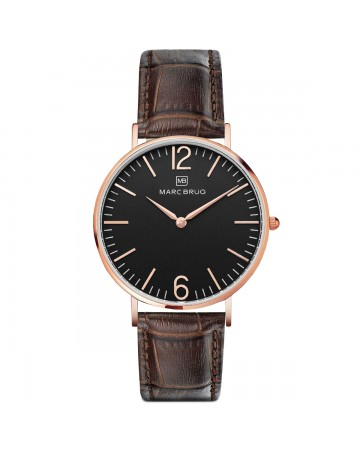 Marc Brüg Men's Madison Watch With Rosegold Case And Black Dial