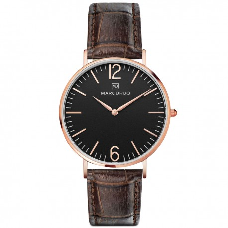 Marc Brüg Men's Madison Watch With Rosegold Case And Argent Dial