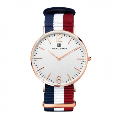 Marc Brüg Men's Ibiza Watch With Rosegold Case And Argent Dial