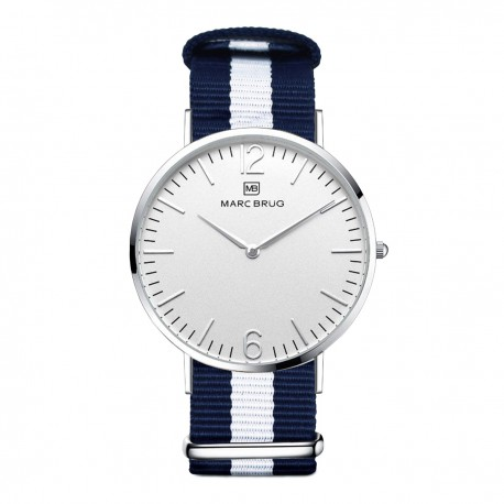 Marc Brüg Men's Bali Watch With Silver Case And Black Dial