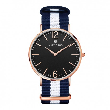 Marc Brüg Men's Bali Watch With Rosegold Case And Argent Dial