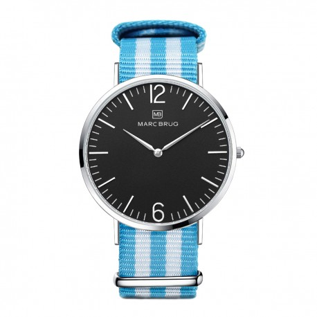 Marc Brüg Men's Miami Watch With Silver Case And Black Dial