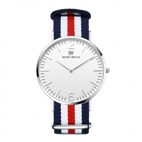 Marc Brüg Men's St. Tropez Watch With Silver Case And Black Dial