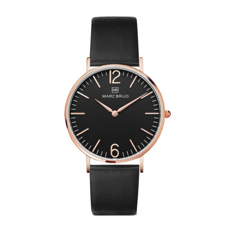 Marc Brüg Ladies' Chelsea Watch With Rosegold Case And Black Dial