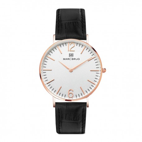 Marc Brüg Ladies' Broadway Watch With Rosegold Case And Black Dial