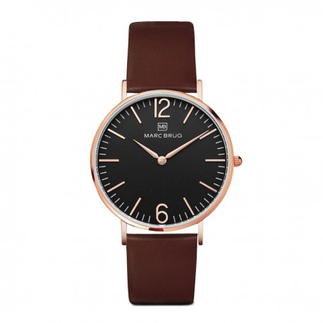 Marc Brüg Ladies' Mayfair Watch With Rosegold Case And Black Dial