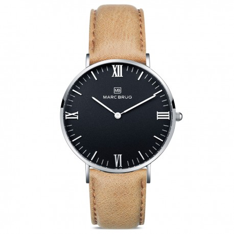 Marc Brüg Men's Chamonix Hygge Watch With Silver Case And Black Dial