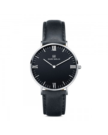 Marc Brüg Ladies' Davos Hygge Watch With Silver Case And Black Dial