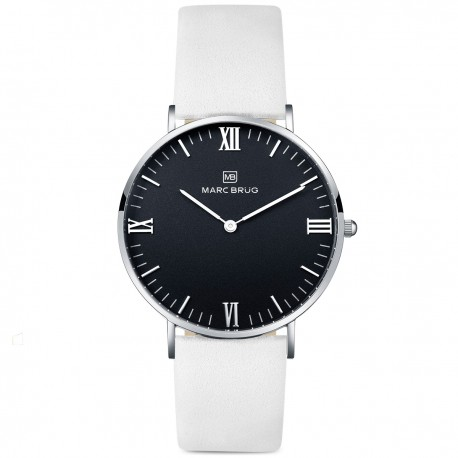Marc Brüg Men's Kensington Hygge Watch With Silver Case And Black Dial