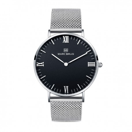 Marc Brüg Men's Elysee Hygge Watch With Silver Case And Black Dial