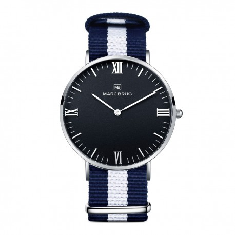 Marc Brüg Men's Bali Hygge Watch With Silver Case And Black Dial