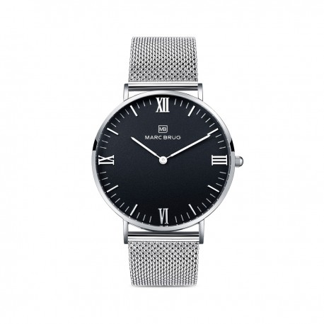 Marc Brüg Ladies' Elysee Hygge Watch With Silver Case And Black Dial