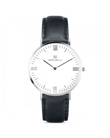 Marc Brüg Men's Davos Hygge Watch With Silver Case And Black Dial