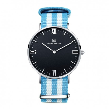 Marc Brüg Men's Miami Hygge Watch With Silver Case And Black Dial